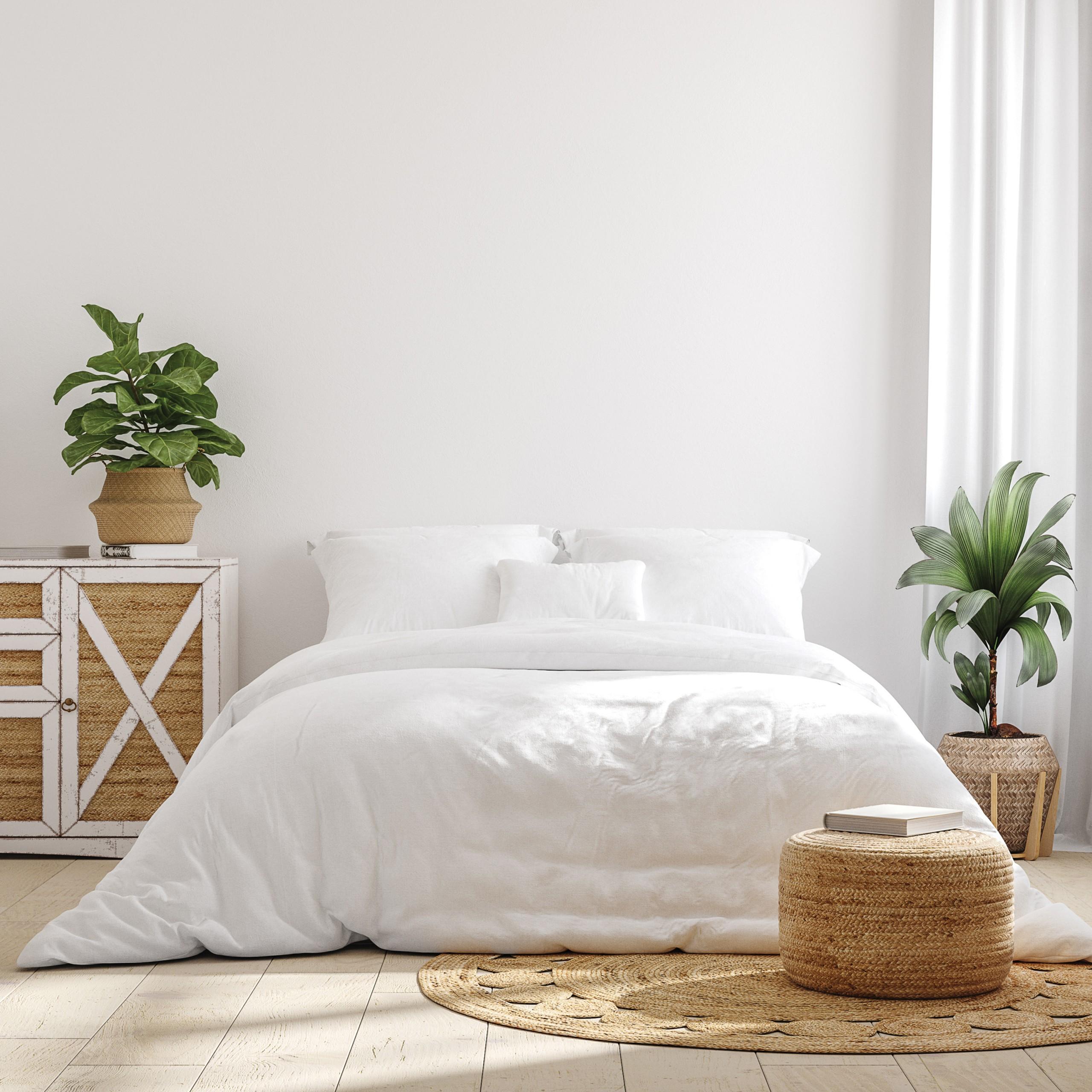 White Cozy Farmhouse Bedroom Interior