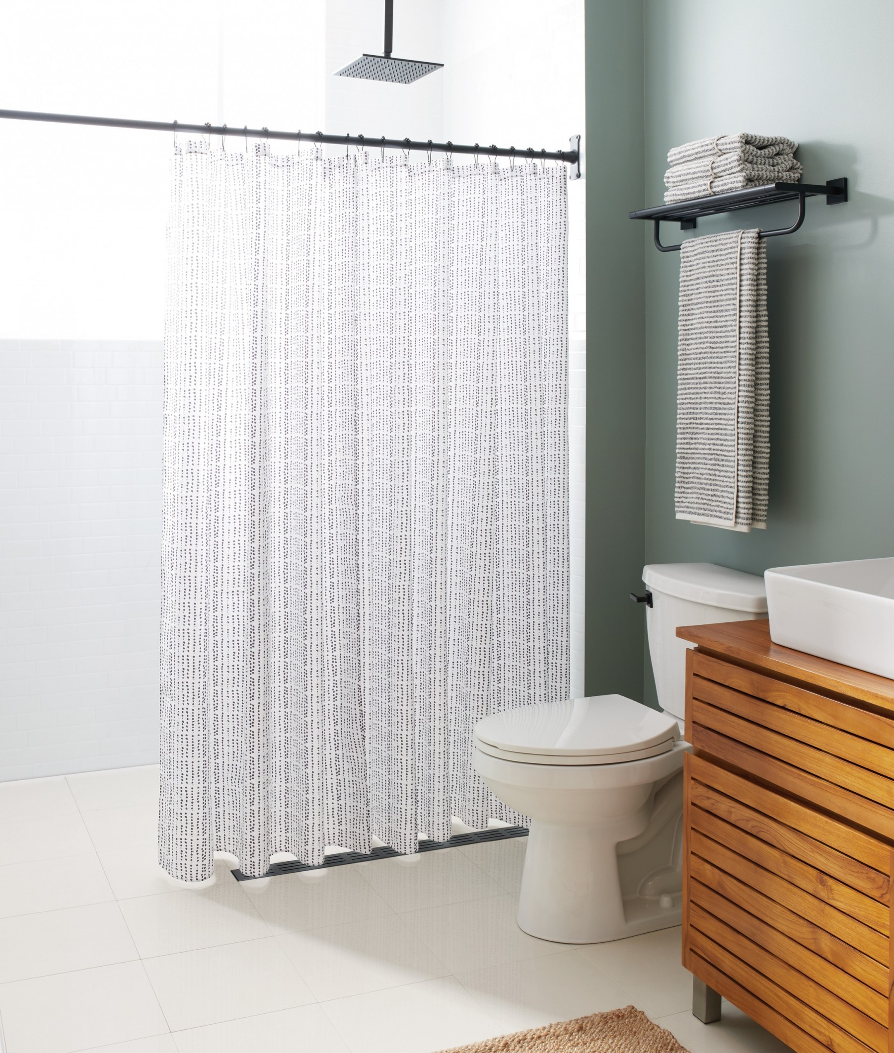 rain shower head in modern bathroom