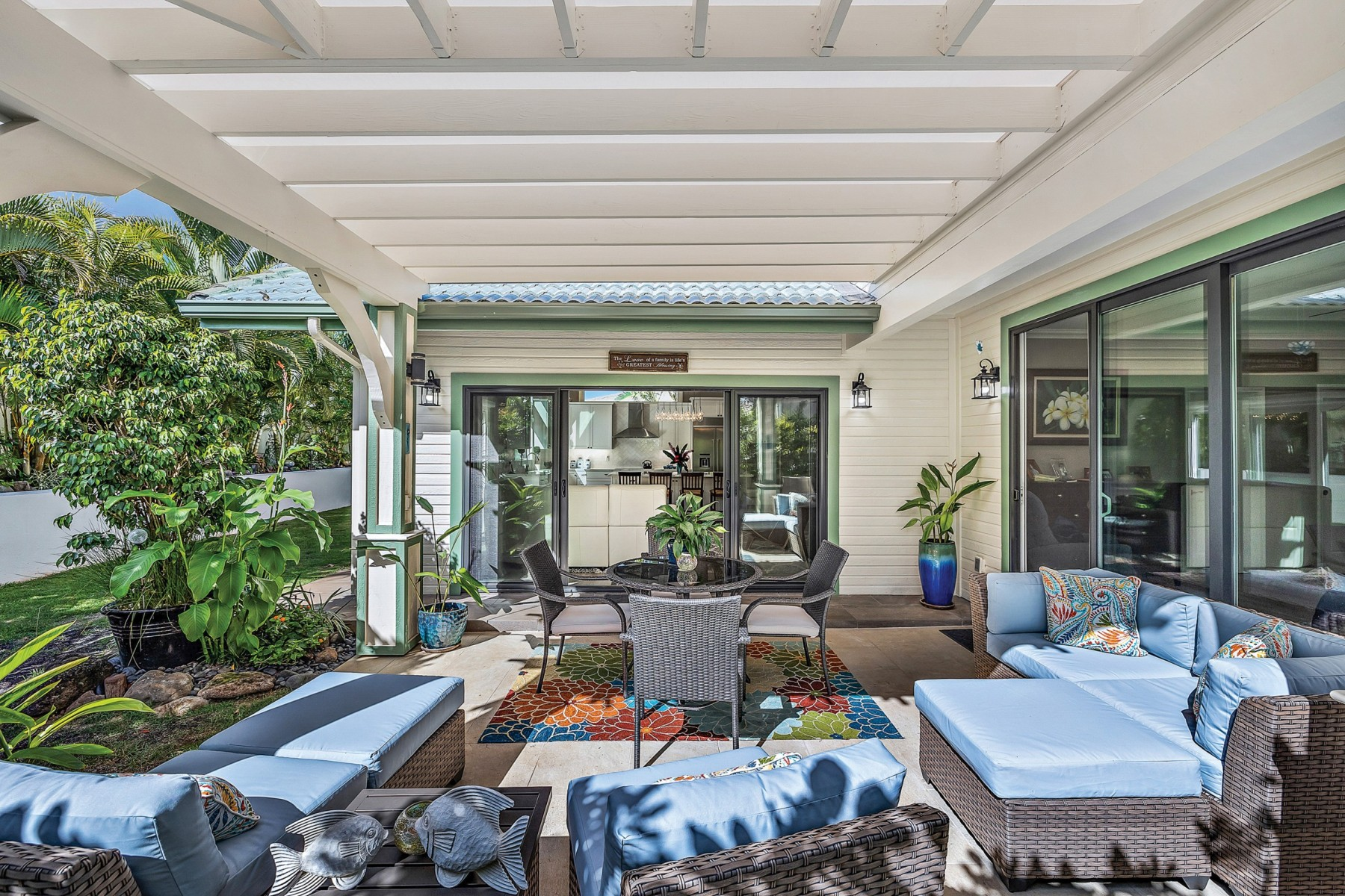 relaxing backyard lounge space